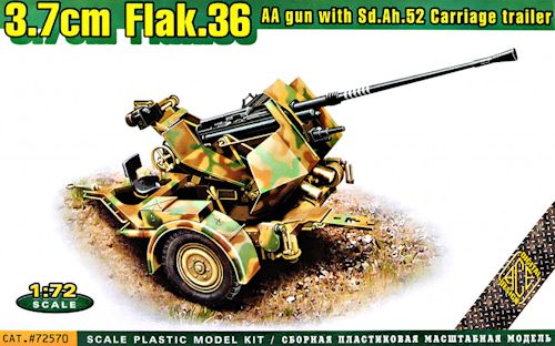 ACE 72570 Flak.36 3.7cm. AA gun with Sd.Ah.52 carriage trailer